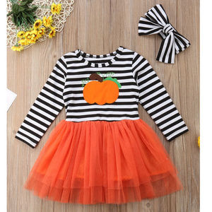 Pumpkin Girls Striped Long Sleeve Tutu Dress
